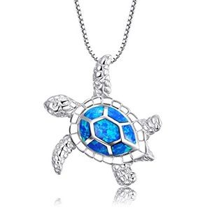 Sterling Silver Created Opal Sea Turtle